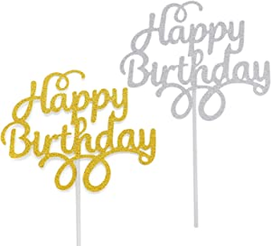WEFOO 12 Pack Gold and Silver Happy Birthday Cake Topper Birthday Party Decorations