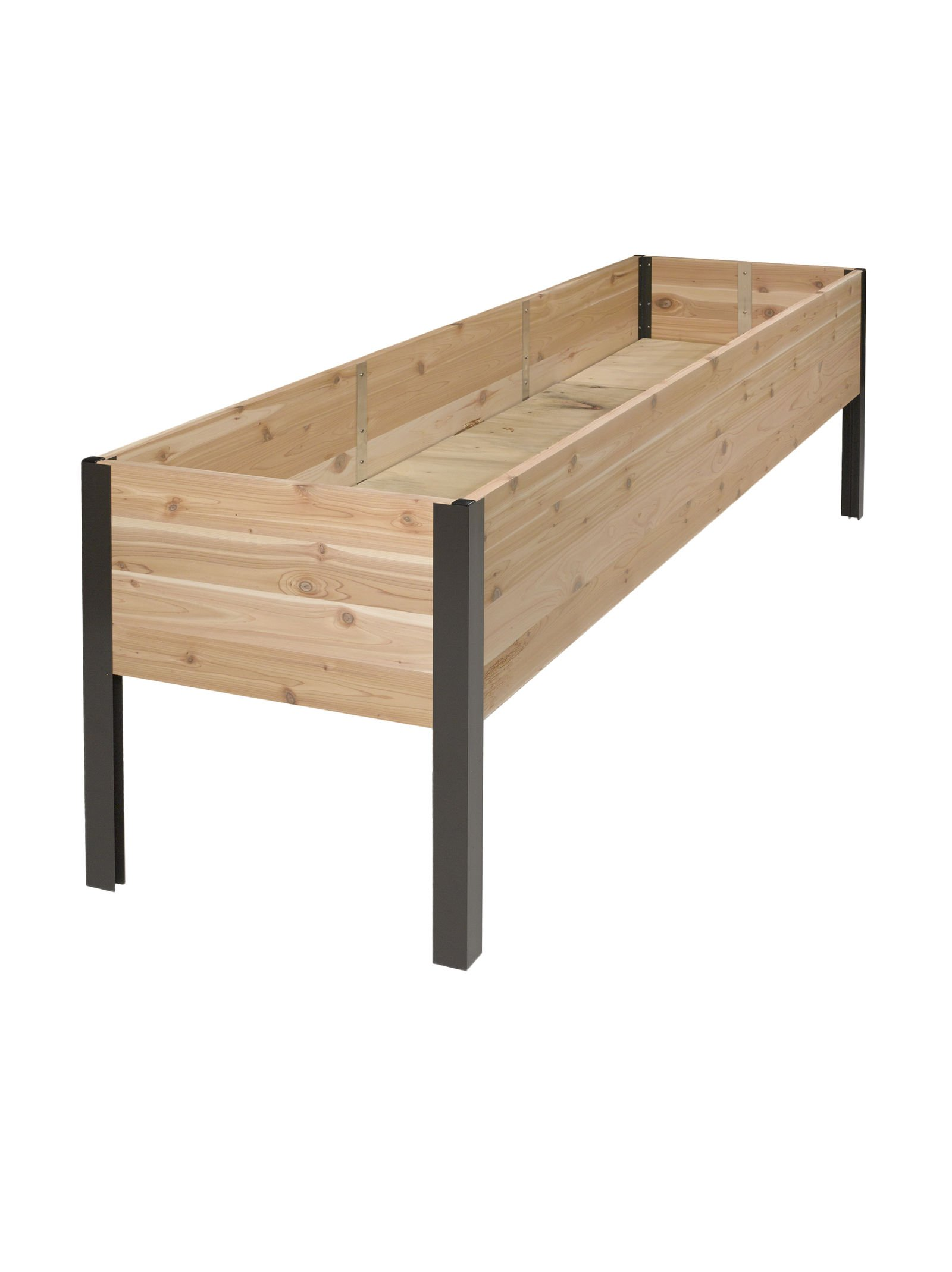"2' x 8' Raised Garden Bed Elevated Cedar Planter Box Standing Garden 5 <p>At 29"" high, this attractive cedar planter is the perfect height for easy growing, eliminating the need to stoop, bend, kneel and reach. It's a generous 10"" deep so you can grow big plants like tomatoes and root crops like carrots. With 16 square feet of growing space, there's plenty of room for multiple crops, yielding a generous harvest. Set up one or more of these rectangular beds around the edge of your patio to create a convenient kitchen garden, or fill them with flowers for a stunning display. Like our other cedar raised beds, the sides are held in place with our sleek and sturdy aluminum corners. Slatted cedar box base: excess water drains through slats; vents in the sides allow air to circulate and excess moisture to evaporate. ERGONOMIC and EASY- Easily grow vegetables and flowers without kneeling or bending. Perfect for your deck, patio or backyard. Being elevated, it keeps your crop pest free of rabbits, moles, and other ground pests. GENEROUS SIZE - Add 16 square feet of growing space on your porch, patio or deck overall size is 96""Lx24""Wx29""H. The bed is 10 inches deep so you can grow big plants like tomatoes and root crops like carrots. LONG LASTING and STRONG - Attractive look made from naturally rot-resistant cedar with heavy duty rustproof aluminum legs and corners SPECIAL BONUS - Includes free planting guide USA MADE! - Made in beautiful Vermont USA!</p>"