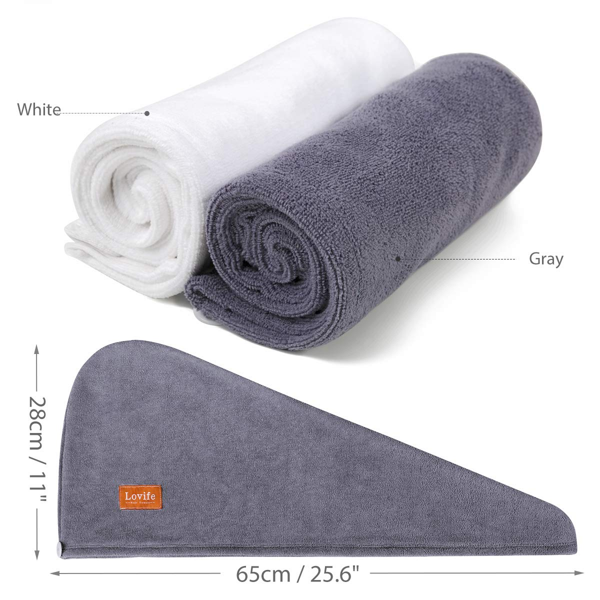 Lovife Microfiber Hair Towel Drying Wraps for Women Bath Shower Head Turban Towels cap with Button 2 Pack Absorbent Anti-Frizz for Long & Curly Hair