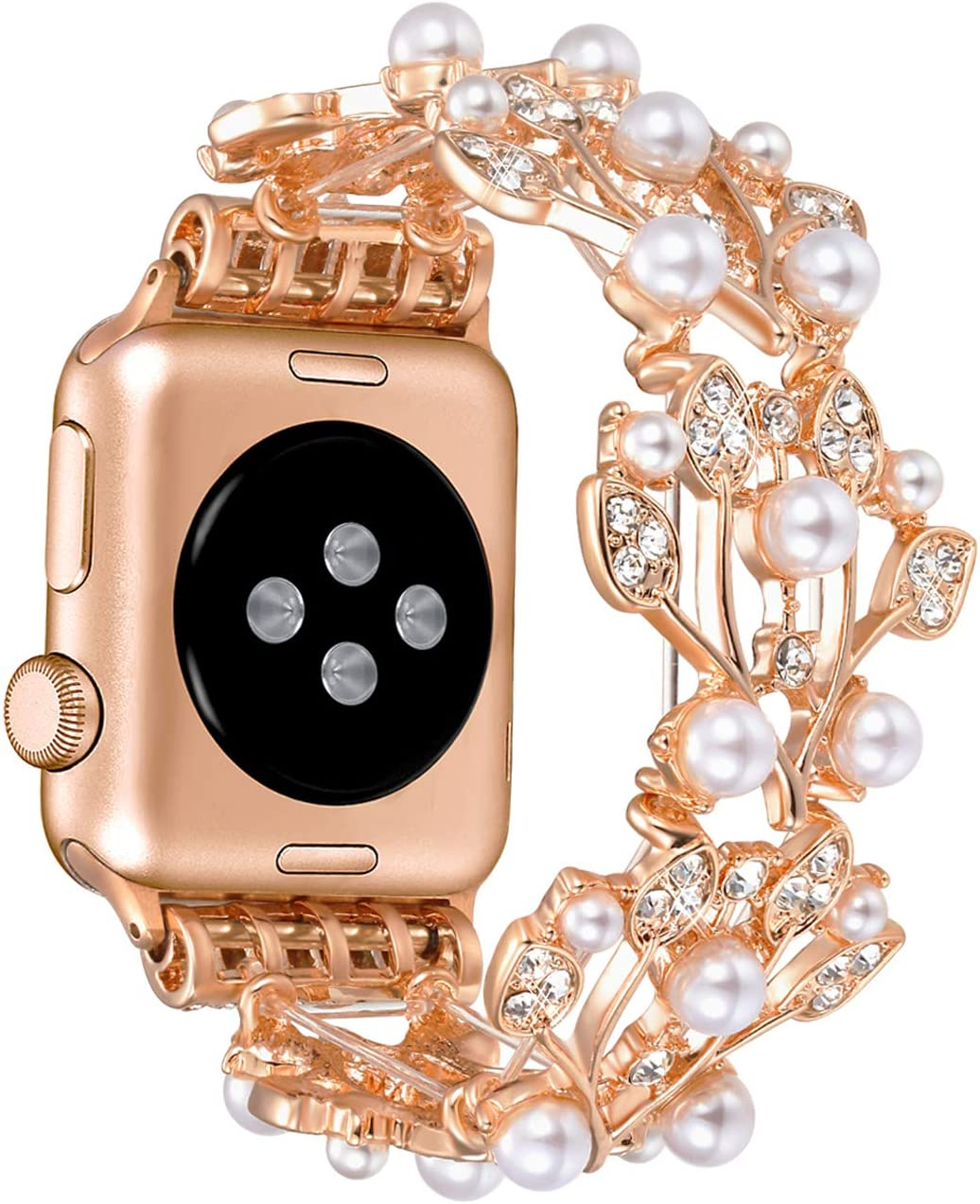 Morning Tree Christmas Compatible for Apple Watch Band 38mm/40mm Series 6 SE 5 4 3 2 1 for Women/Girls, Iwatch Bling Bracelet Pearl Diamond Metal Elastic Jewelry Wristband 42mm/44mm (Rose gold, 38mm/40mm)