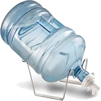 finedine cromo 1- 5 galones Dispensador de agua jarra de agua Soporte y válvula para 55 mm Corona Top jug| chapado de metal resistente de agua reutilizable: ...
