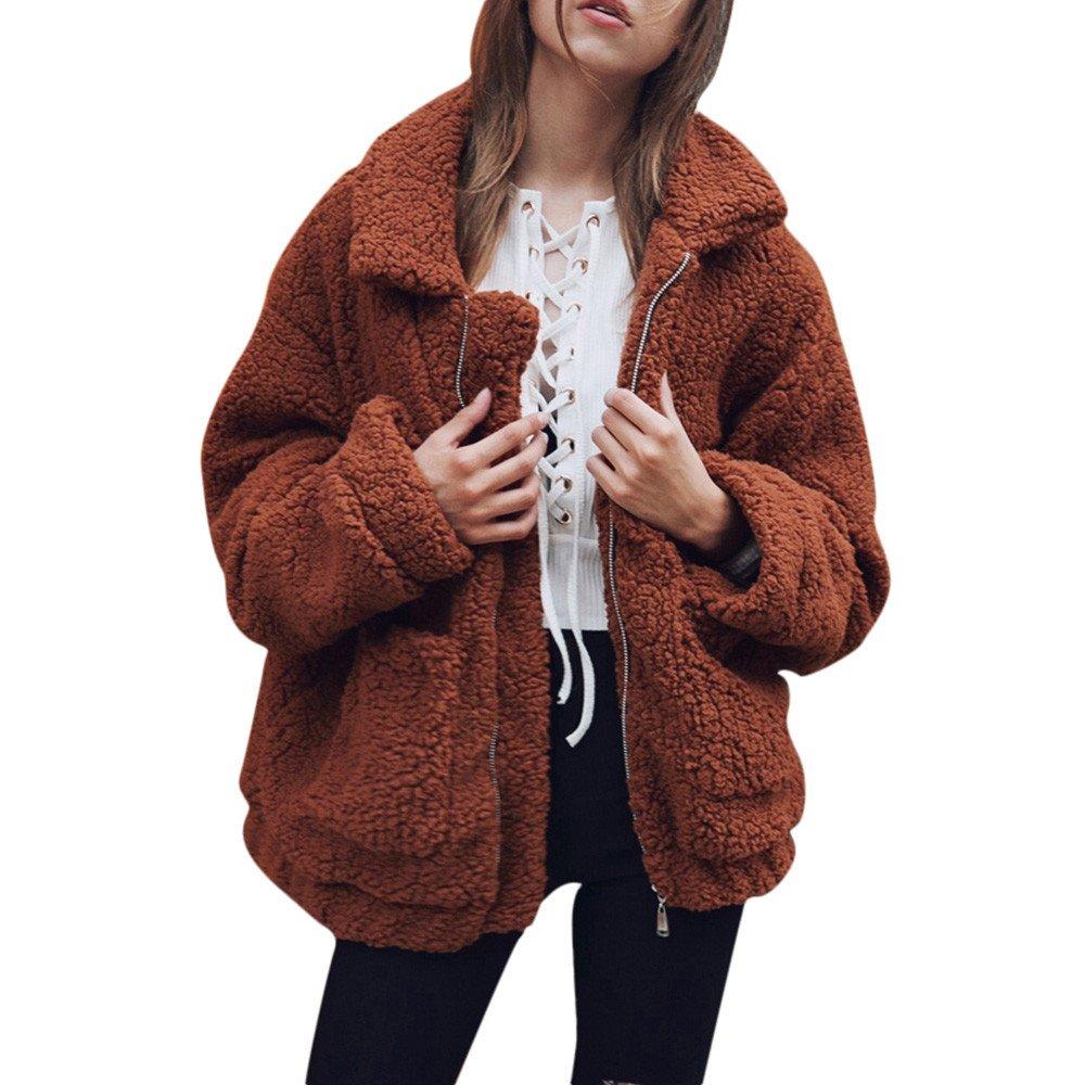 WOCACHI Womens Zipper Coat Faux Warm Jacket Winter Solid Outwear with Pocket WOCACHI-180913