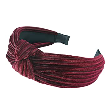 Amazon.com   Wide Hairbands Simple Fabric Cross Knot Hair Accessories  Fashion Korean Hair Band Hoop Headwear Wine Red   Beauty 2fa7414ed81