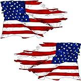 "USA Tattered Flag Sticker ""MIRROR"" 2 Pack - Car truck window bumper vinyl decal - US American Patriotic"