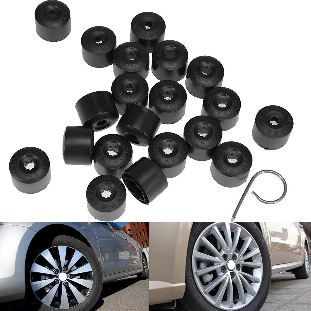 TPI Black Chrome Wheel Bolt Nut Covers 17mm Nut for VW Touran Mk2 10-17