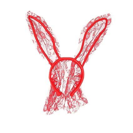 LUOEM Diadema Orejas Conejo con Velo Máscara de Conejo de Encaje Accesorio Disfraz de Conejo Pascua
