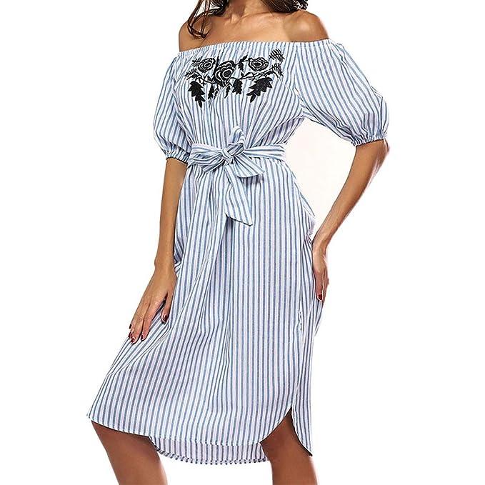Elecenty Damen Schulterfrei Strandkleid Partykleid Streifen Sommerkleid  Rock Mädchen Kleider Knielang Frauen Mode Kurzarm Kleid Minikleid 39ec48111d