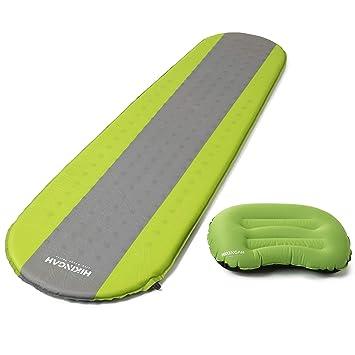 HIKINGAH Almohadilla de Dormir autoinflable para Acampada con Almohada, cómoda Alfombrilla Enrollable, Ligera y