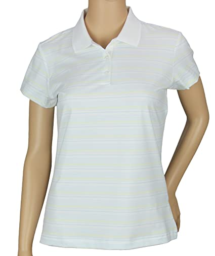 Adidas Taylormade Womens Climacool White Based Stripe Polo Shirt (XS (0) 2b72e4cdfe
