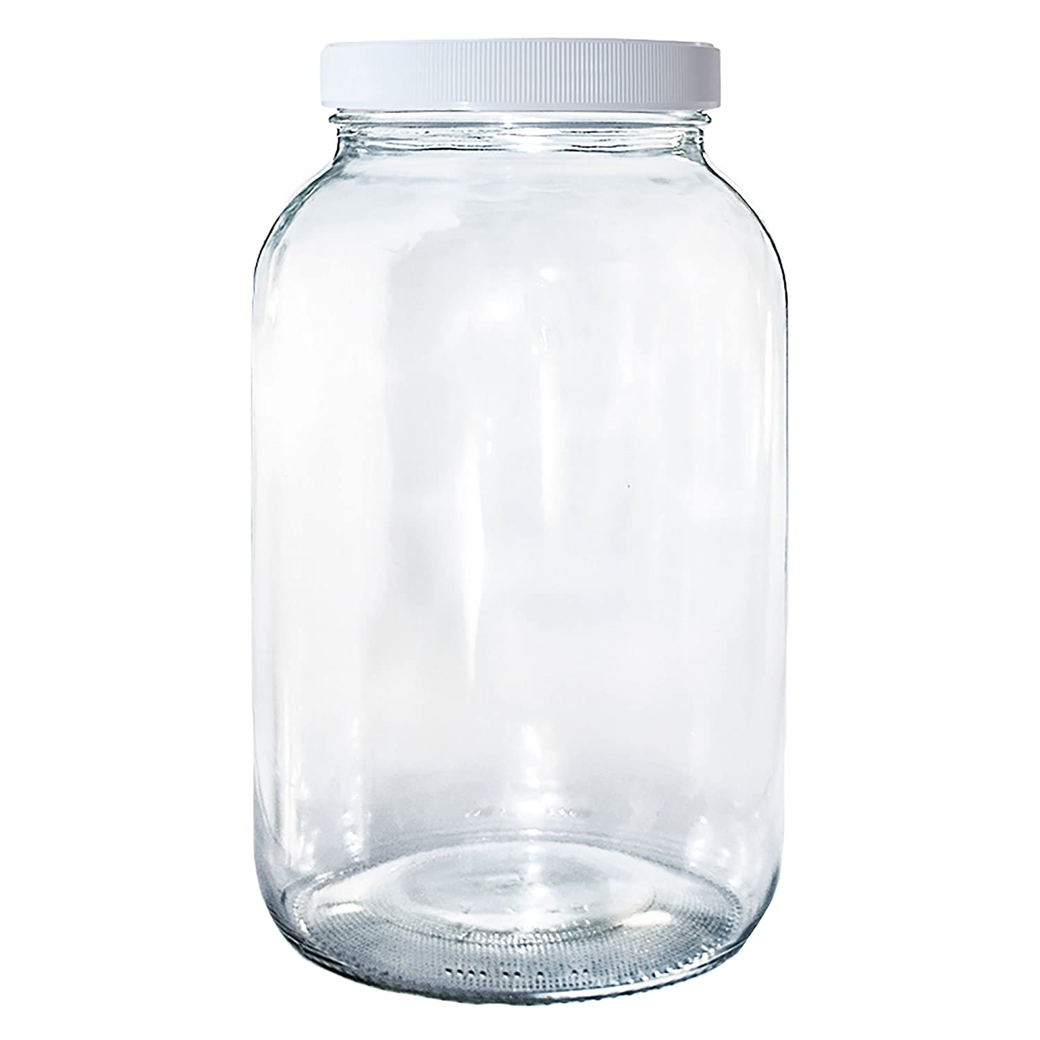 (1 Pack) 1 Gallon Clear Glass Jar with White Plastic Cap (110/400) GBO GLASSBOTTLEOUTLET.COM