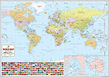 World Wall Map Synthetic X Cm Maps Of India Amazonin - Map of workd
