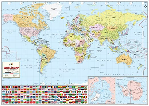 World Wall Map Synthetic X Cm Maps Of India Amazonin - World map marathi language