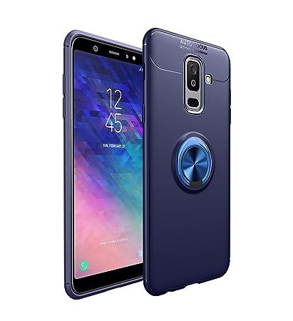 Samsung Galaxy A6 Plus(2018) Funda, Navegación del Coche Silicona Carcasa, Magnético 360°Giratorio Anillo Hebilla Metal Soporte Case Cover para ...