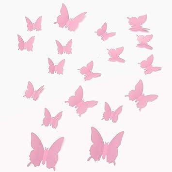 Walplus 12 Stück 3D Rosa Schmetterlinge Wand Sticker Heim Dekoration ...
