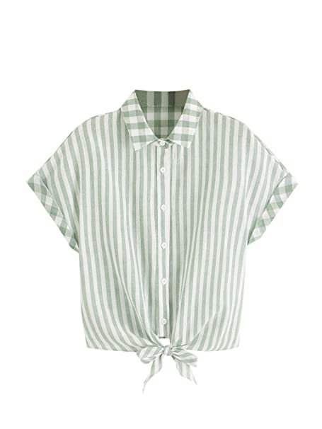 2e43c807abab WDIRARA Women's Summer Striped Print Rolled Up Sleeve Knot Tie Front Top Blouse  Green XS