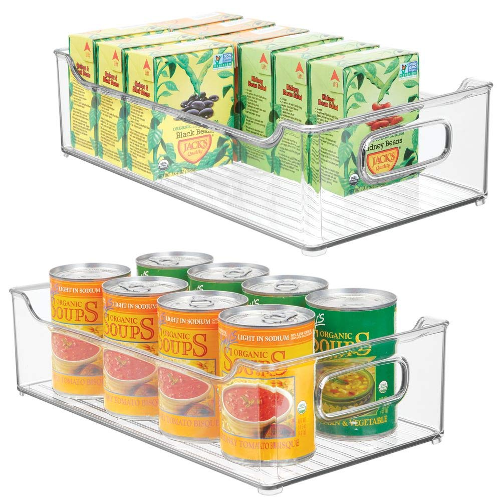 "mDesign Wide Stackable Plastic Kitchen Pantry Cabinet, Refrigerator or Freezer Food Storage Bin with Handles - Organizer for Fruit, Yogurt, Snacks, Pasta - BPA Free, 14.5"" Long, 2 Pack - Clear"