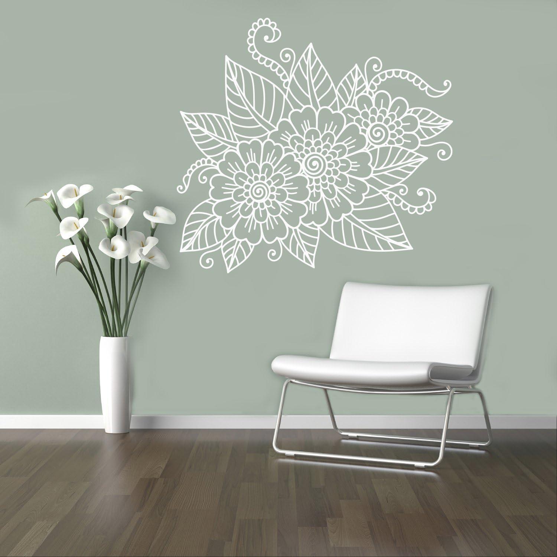 Amazon Com Mehndi Henna Wall Decal Abstract Flowers Vinyl Sticker Henna Flower Home Interior Indian Mandala Wall Art Murals 5 Mhi Home Kitchen