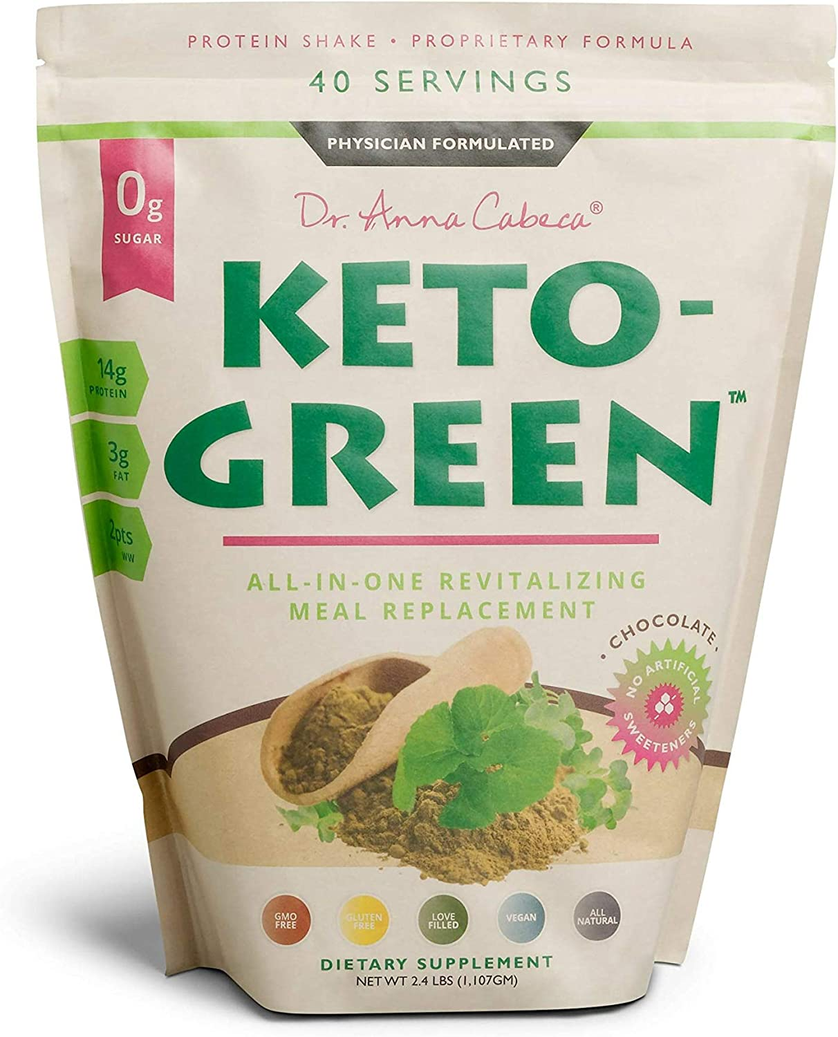 Keto Green Alkaline Protein Shake – Chocolate Ketogenic Protein Powder Drink, Lactose Free Vegan Protein, Supports Gastrointestinal Health, Aides Natural Body Detoxification -Single Pouch 40 Servings
