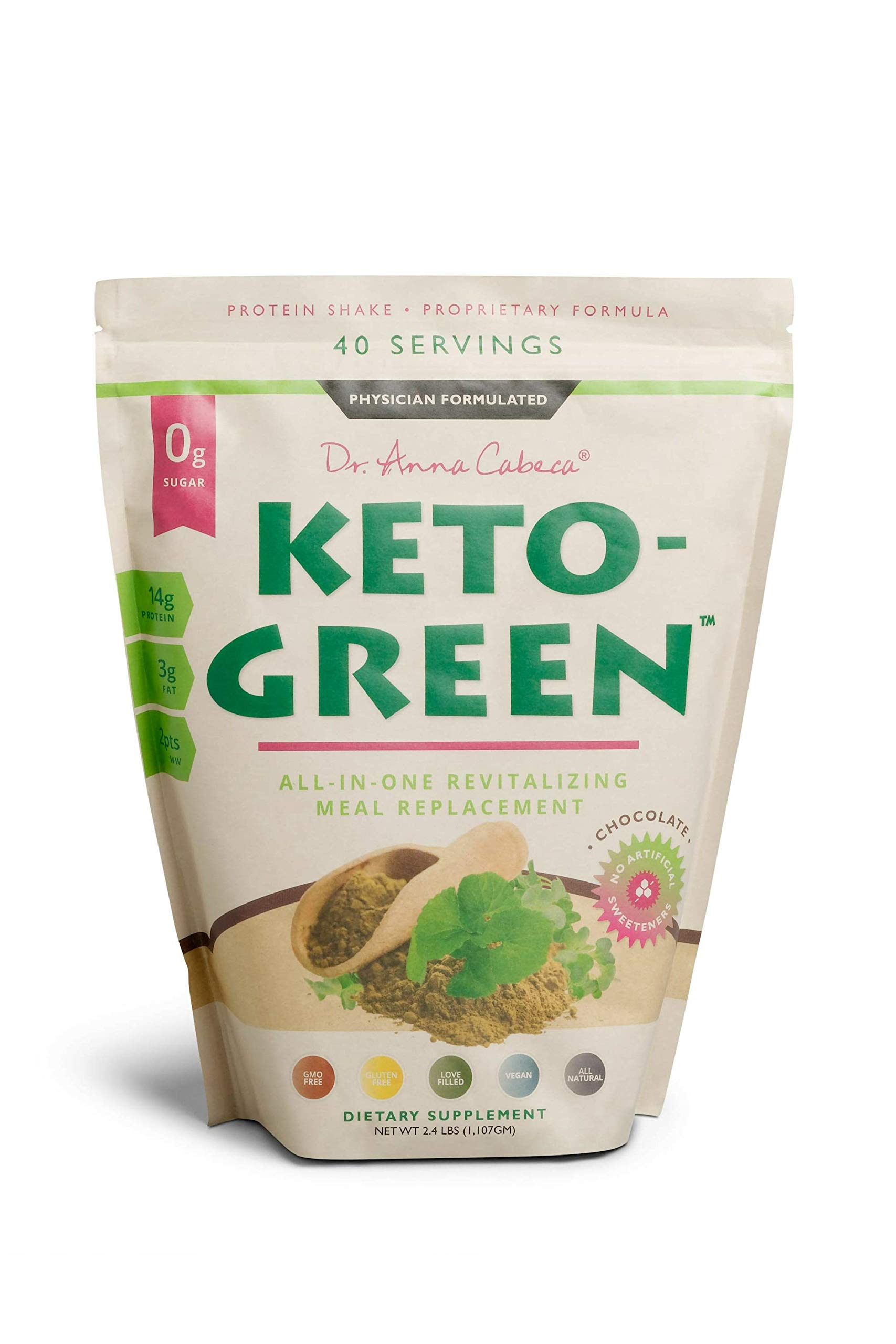 Keto Green Alkaline Protein Shake - Chocolate Ketogenic Protein Powder Drink, Lactose Free Vegan Protein, Supports Gastrointestinal Health, Aides Natural Body Detoxification -Single Pouch 40 Servings