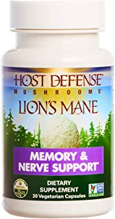 product image for Host Defense, Lion's Mane Capsules, Promotes Mental Clarity, Focus and Memory, Daily Mushroom Supplement, Vegan, Organic, 30 Capsules (15 Servings)