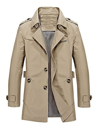 47ad11f177 BAMan Men Solid Color Belted Single Breasted Turndown Collar Trench Coat