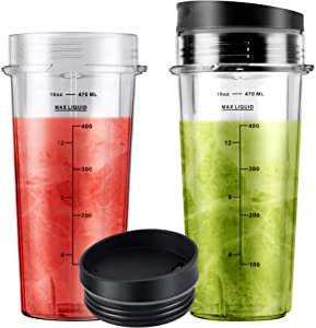16oz Blender Cups with Sip Lids (2-pack) Replacement Parts Compatible with Nutri Ninja Blender BL770 BL780 BL660