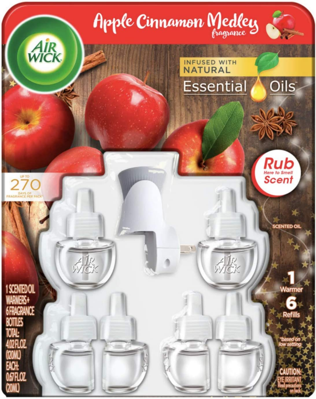 AirWick Apple Cinnamon Medley Limited Edition Scented Oil 1 Warmer + 6 Refills