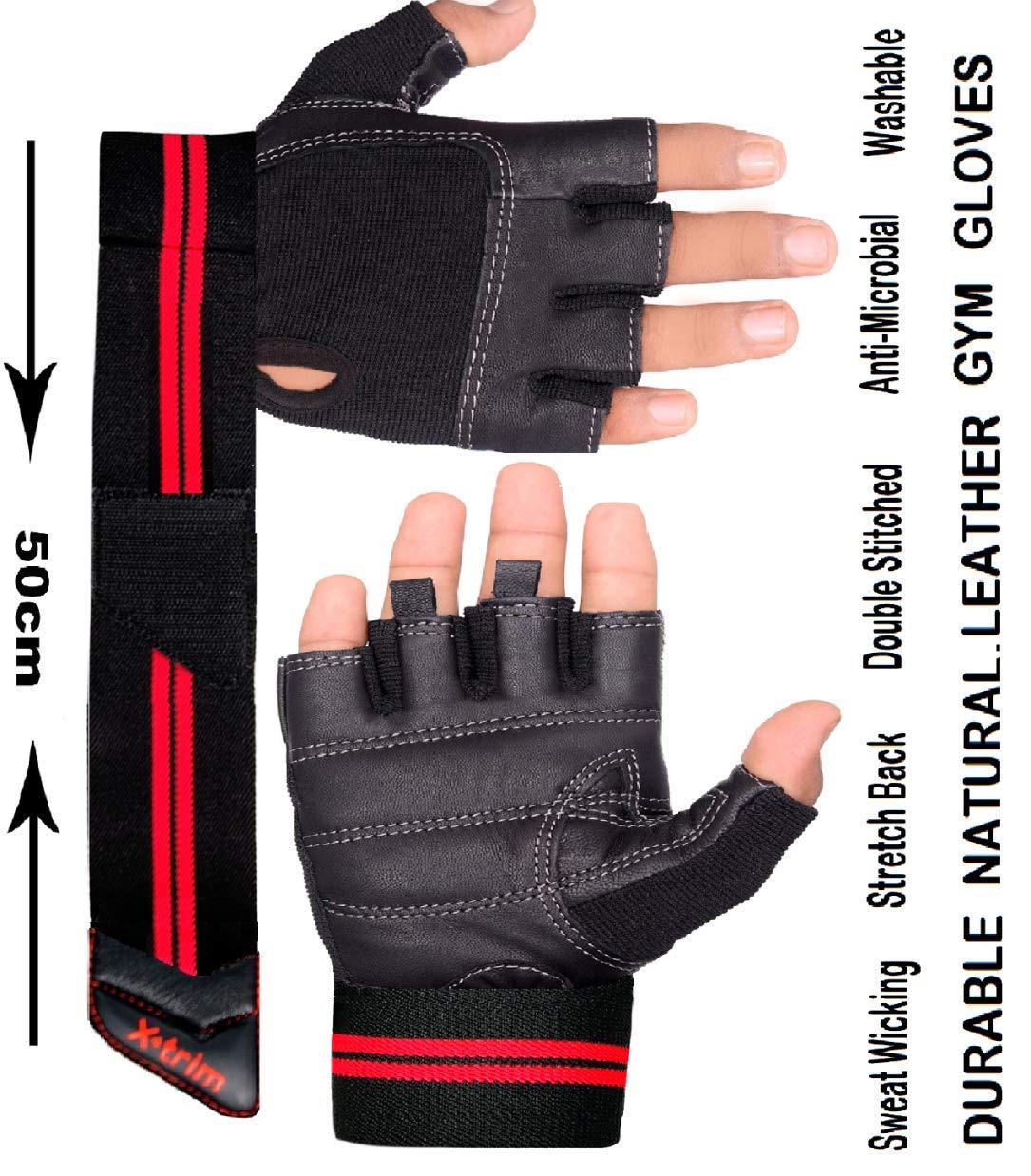 Xtrim Unisex Macho Leather Gym Workout Wrist Wrap Gloves product image