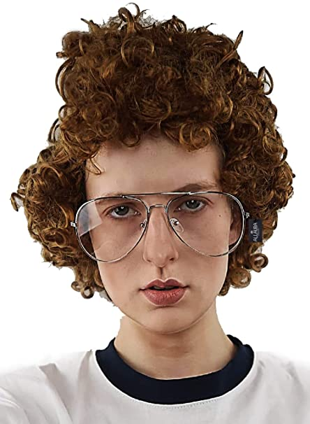 Amazon.com: Peluca afro nerd marrón + juego de disfraz de ...
