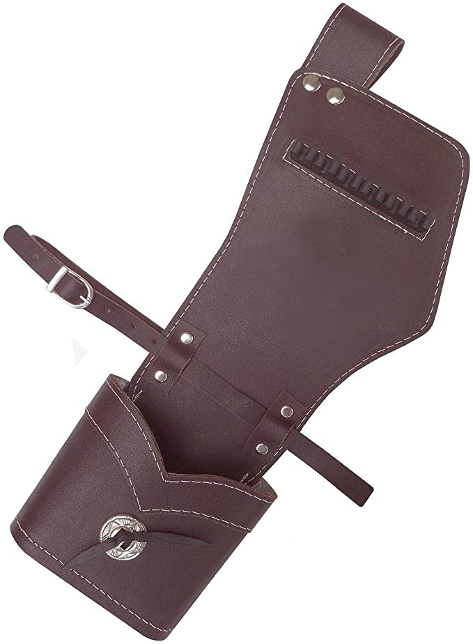 CAROL 2 ARROW TUBE TRADITIONAL ARCHERY LEATHER SIDE//HIP QUIVER AQ158S BROWN  L//H