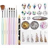 Nail Art Brushes Set, Beetles Gel Nail Polish Nail Accessories with Nail Pen, Crystal Rhinestone, Nail Foil, Butterfly…