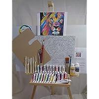 Super Kit de Pintura al Oleo, Set completo, Con caballete boceto de leon y herramientas de pintura