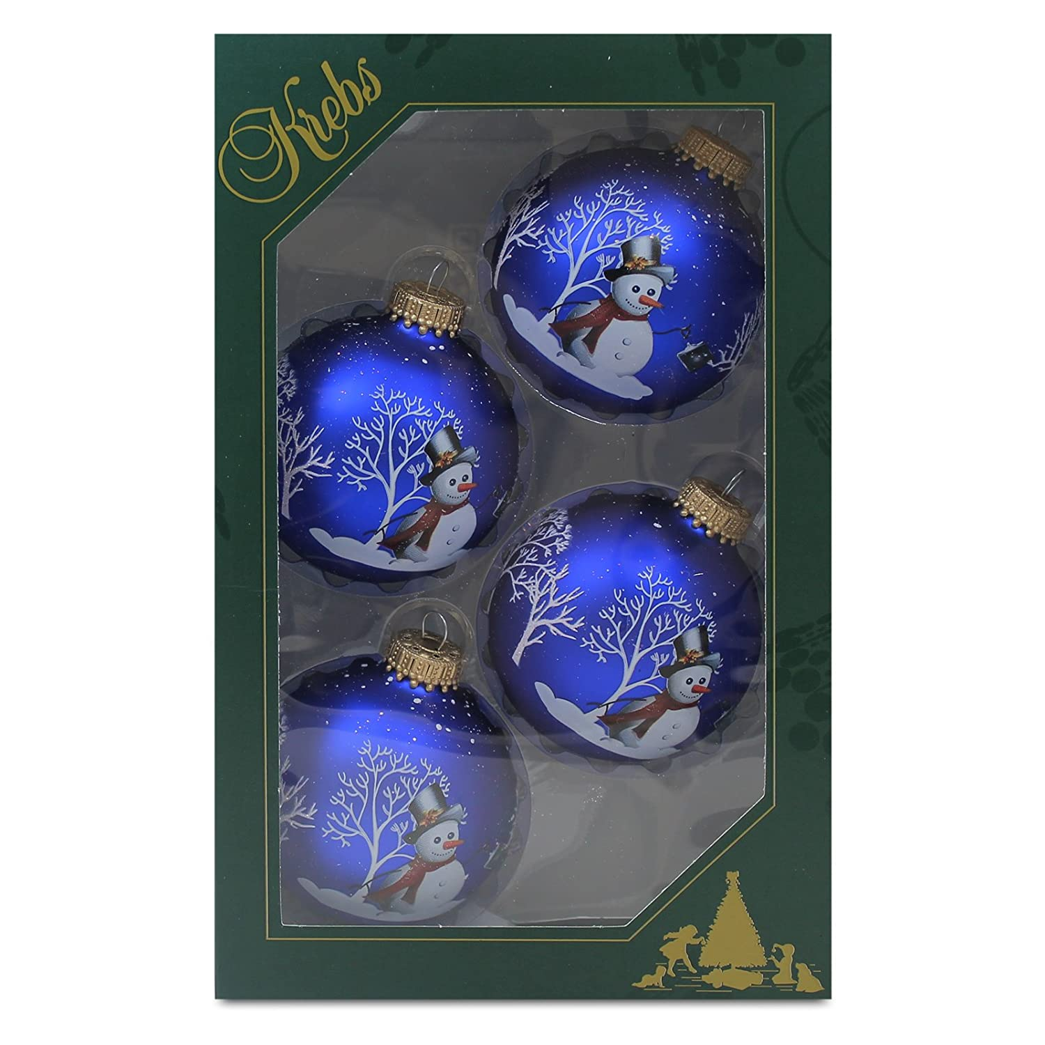 Christmas Royal Velvet Snowman Ornament - Set of 4