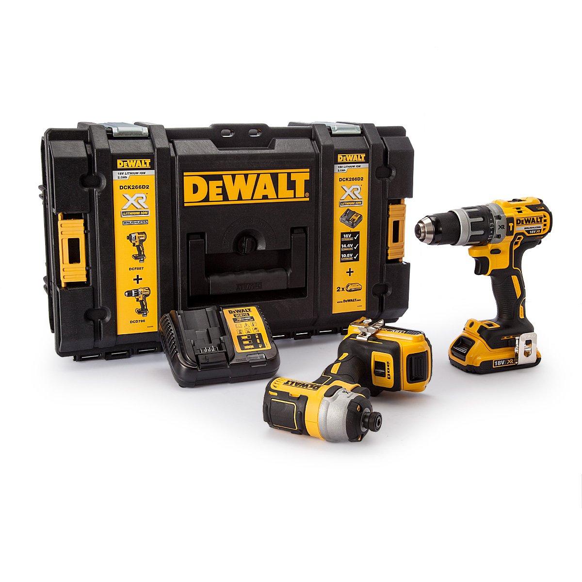 Dewalt DCK266D2-GB DCK266D2 Combi Drill and Impact Driver XR 18V Brushless Kit, 18 V