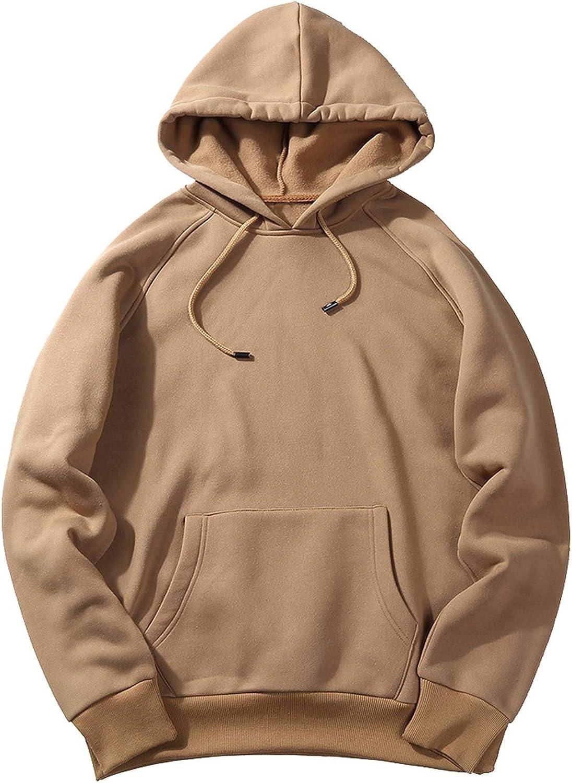 Yanlian1 Mens Fashion Hoodies Sweatshirts Thicken Hip Hop Streetwear Solid Fleece Hoody,Type 1 Dark Grey,M