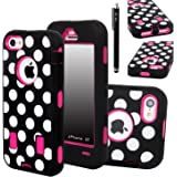 iPhone 5C Case, E LV iPhone 5C case - heavy Duty Rugged Dual Layer Hybrid Armor Defender Case Cover for iPhone 5C with 1 Screen Protector, 1 Black Stylus and 1 Microfiber - Polka Dot Hot Pink