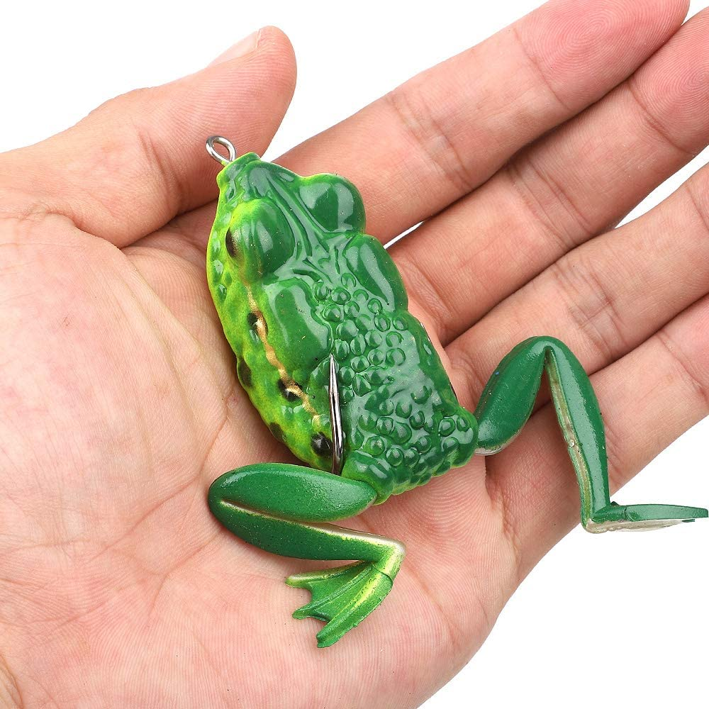 OLJF Fishing Lures Soft Frog Fishing Lure Silicone Bait Top Water Ray Frog with Double Hooks Lifelike Fishing Baits 5PCS