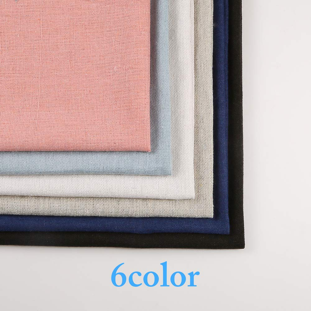 Caydo 6 Pieces 6 Colors Linen Needlework Fabric for Garment Craft, 19.6 by 19.6 Inch by Caydo (Image #2)