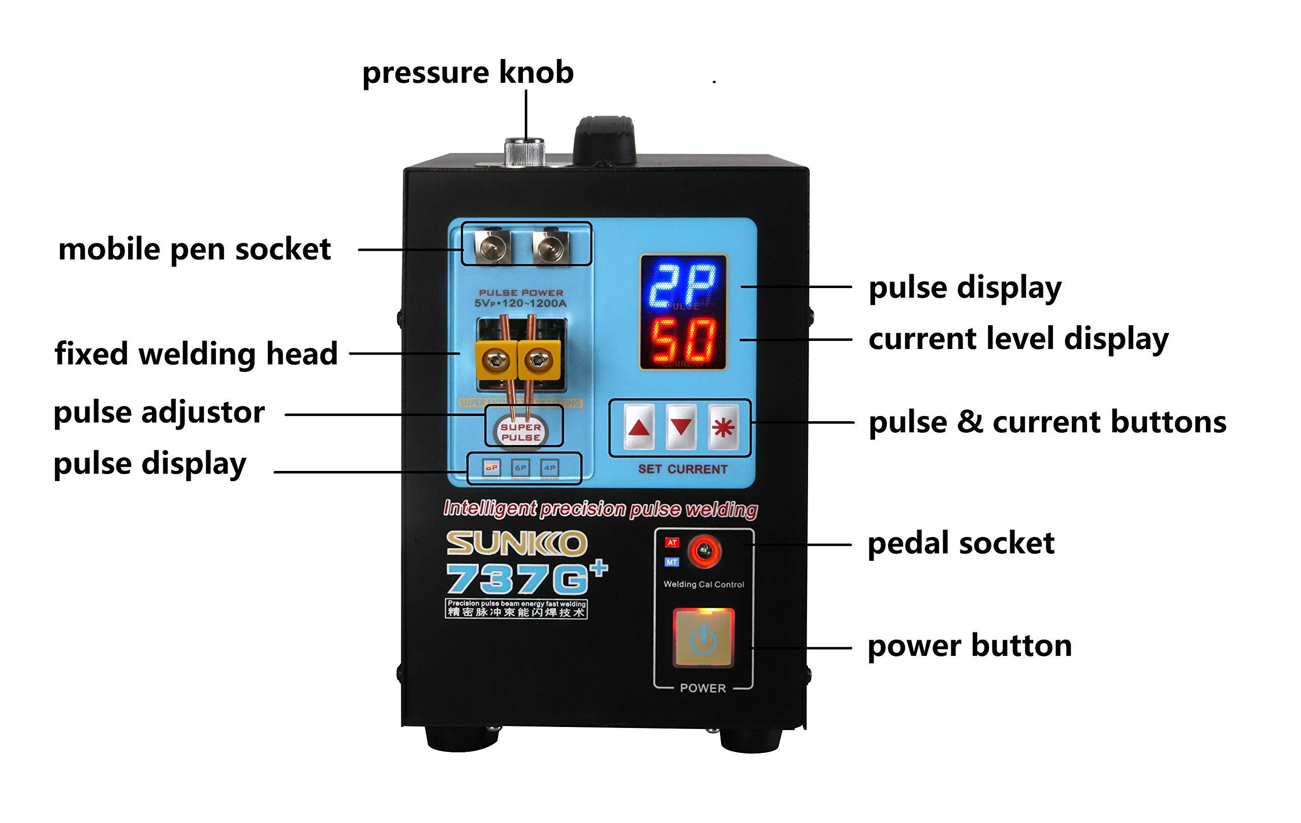 SUNKKO 737G+ Battery Spot Welder, Pulse Welding Machine for 18650 14500 Lithium Batteries Battery Pack Work With Nickel Strips 0.35mm by SUNKKO