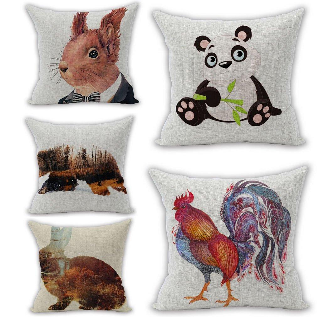 Nunubee Flax Pillowcase Set Pillow Cover Set Pillow case Home Decor 18x18 Inch Animal A, (Set of 5)