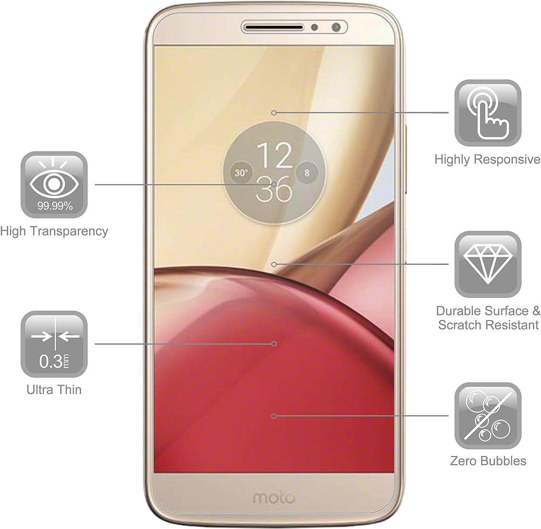 RANZ - Protector de pantalla para Motorola Moto M (2 unidades, vidrio templado, alta definición, a prueba de golpes, transparente): Amazon.es: Electrónica