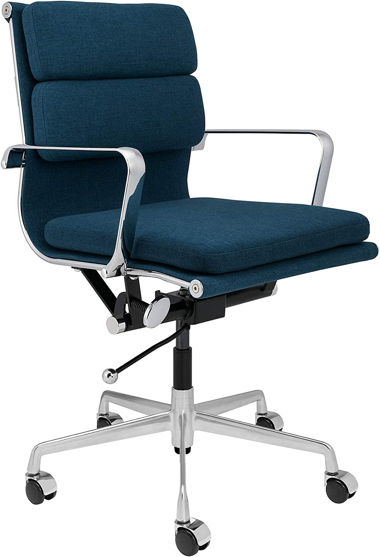 SOHO Mid Century Modern Soft Pad Management Chair (Dark Blue Fabric)