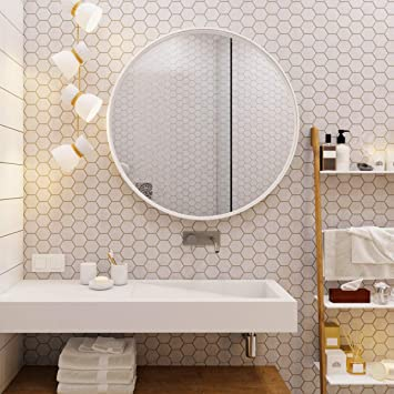 Amazon Com Ogcau White Round Mirrors For Wall Decor 24 Inch Circle Mirror White Metal Round Wall Mirror For Bathroom Entry Dining Room Living Room Crafts White Round Mirror For Wall Vanity Mirror