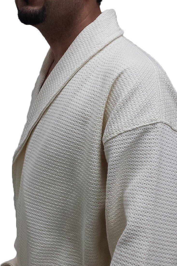 Waffle Mens Robe with Diamond Shawl Collar Waffle Spa Cover up