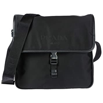 cf9fc63f77ee13 Amazon.com | Prada Nylon Messenger Bag with Steel Hardware | Messenger Bags