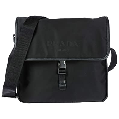 5ecb139c9797 ... buy prada mens tessuto nylon flap shoulder bag black ced88 755fa
