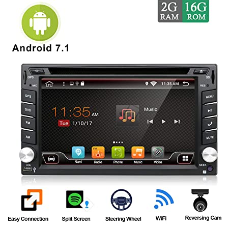 Android 7.1 WiFi Model 4-Core 2G RAM 16G ROM Double din Car DVD Player Stereo GPS Navigation for Universal car with Free Camera Support Mirror Link DAB OBD FM AM SD USB Up to 128GB