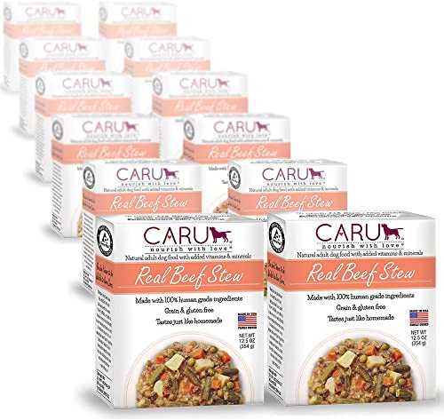 Caru Real Beef Stew For Dogs, Natural Adult Wet Dog Food With Added Vitamins And Minerals, Free From Grain, Wheat And Gluten Pack Of 12