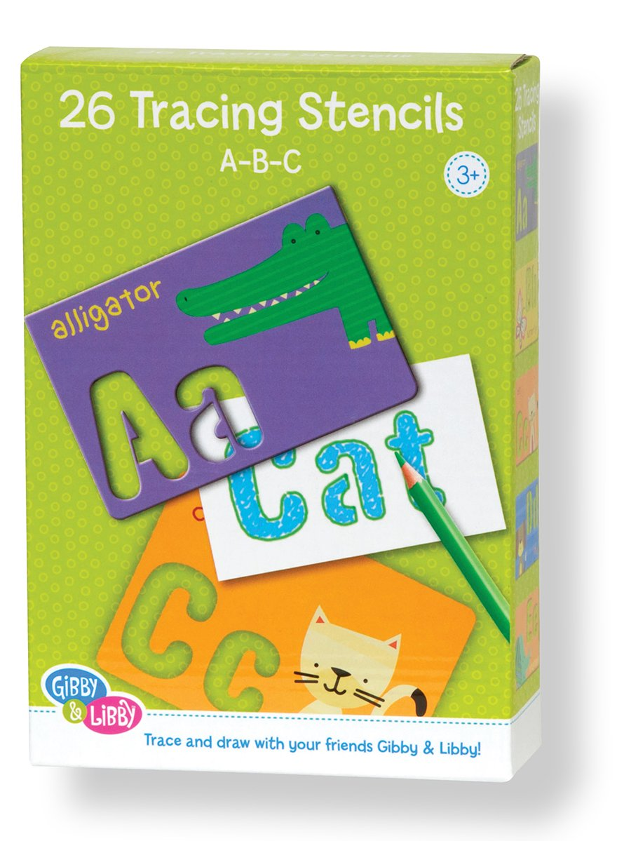 C.R. Gibson Educational Letter Stencil Cards for Kids, 26pc