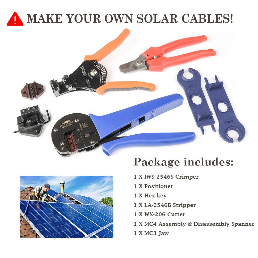 IWISS Solar Crimping Tool Kit with Wire Cable Cutter, Stripper, MC3 MC4 Crimper and MC4 Connectors Assembly and Disassembly Tool Solar PV Panel Tool Kit by IWISS (Image #5)